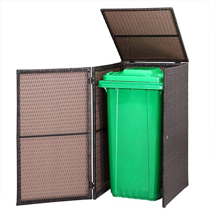 Casaria Poly Rattan Wheelie Bin Storage Screen