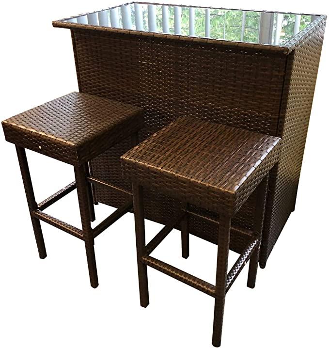 Chusstang 3PCS Rattan Bar Set Wicker Outdoor Indoor Table & 2 Stools