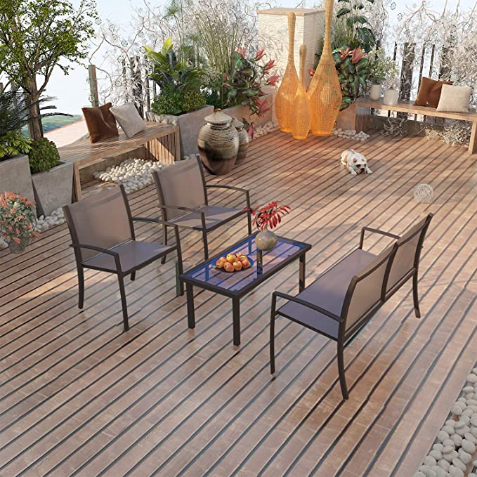 Garden Table and Chair 4 seater, 2 ArmChairs + 1 Double Chair Sofa + Glass Coffee Table