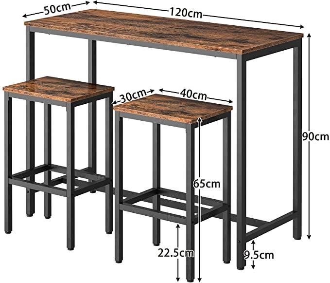 HOOBRO Bar Table Set with 2 Bar Stools