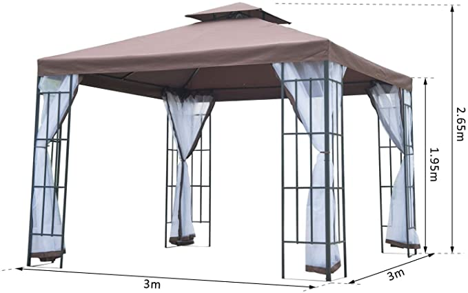 Outsunny 3 x 3 Meters Gazebo With Steel Frame