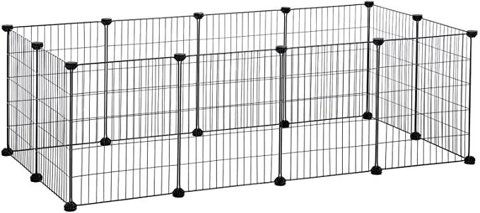 SONGMICS Guinea Pig Playpen, Indoor Rabbit Run Hutch Cage