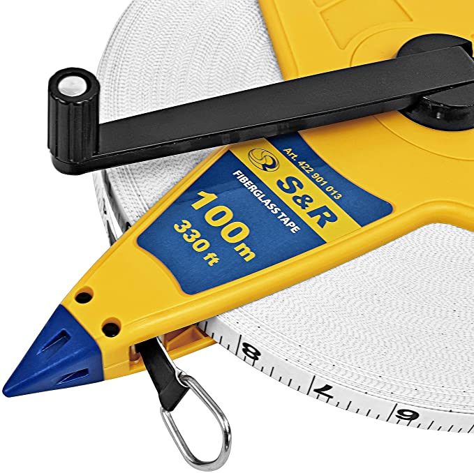 S&R Surveyors Tape Measure Fiberglass 100m / 330 feet Double Marked Tape Reel