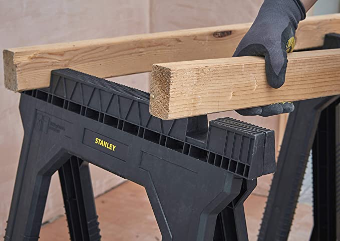 Stanley Folding Junior Work Bench Saw Horse Twin Pack, with Tray for Tools and Small Parts