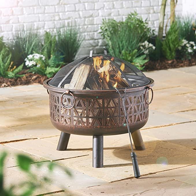 VonHaus Geo Fire Pit Bowl with Spark Guard & Poker